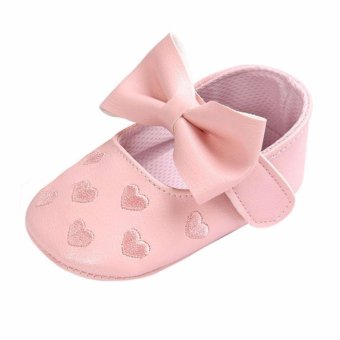 Cute Baby Girl Shoes Peach Heart Enbroidery Shose Soft Soled Anti-slip Baby Shosewear - intl