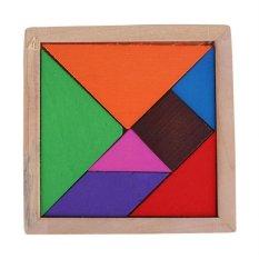 FC Color Wooden Tangram 7 Piece Wood Puzzle Brain Teaser Jigsawintelligent Toy - Intl