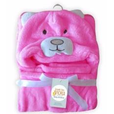 Freeshop Selimut Topi Double Fleece Selimut Hoodie Bulu Bayi 3D Hoodie Bear Pink Blanket Tudung - S254