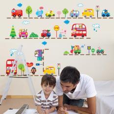 Hewan mobil Bus yang dapat dilepas stiker dinding vinil lukisan dinding dekorasi kamar bayi - Internasional