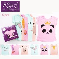 Kazel Tshirt Girl Panda Edition isi 6 pcs - Newborn