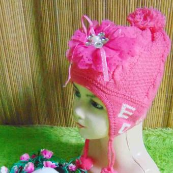 kembarshop - Topi Rajut Bayi Wol Hot Pinky Super Soft 0-2th