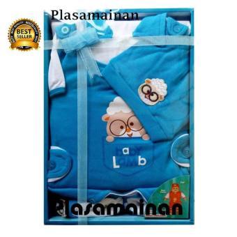 Kiddy Baby Gift Set Sheep Kerah Biru 11165 - Satu Set Pakaian Bayi