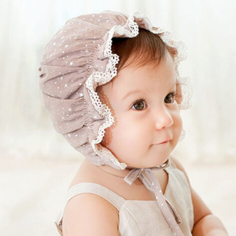 Kids Girls Baby Hat Beanie New Lace Stars Caps(Light coffee) (Intl)