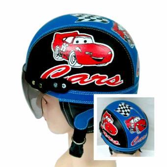 KiosStore - Helm Anak Lucu Unik Motif Carz Usia 1 - 4 Tahun Hitam Biru