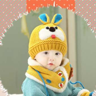 LALANG Cute Baby Girls Boys Knitted Beanie Hat Cap Bunny Rabbit Earflap Hat and Scarf Two-Piece Set (Ginger) - intl