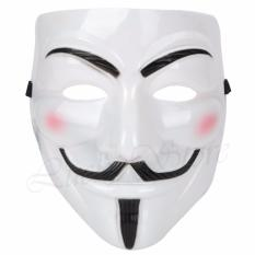 Lucky Topeng Vendetta - Topeng Plastik Tahan Lama - Topeng Halloween pesta kostum Cosplay - Topeng Vendetta Mask Occupy Anonymous Cosplay - Putih / 1Pcs