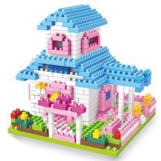 Mainan Puzzle anak permainan membentuk partikel kecil membentuk blok rumah susun gadis putri Villa blok bangunan - International