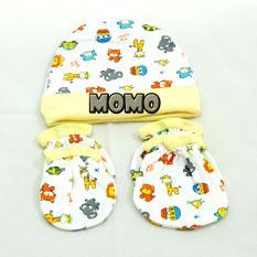 MOMO Baby Topi Set Plus Sarung Tangan Kaki Mamimu Motif Animal Kuning - Topi Set Bayi
