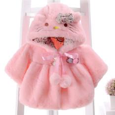 New York University ha bayi perempuan campuran wol kucing kartun berkerudung busur kokoh mantel musim dingin Berwarna Merah Muda