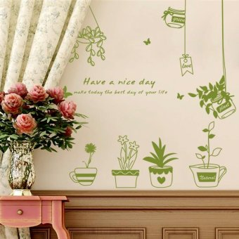Pot Plants Pattern Wall Stickers Removable Decal Home Decor DIY Art Decoration, Size: 40 x 60cm - intl