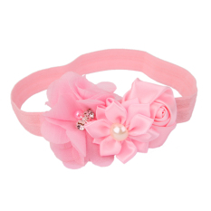 RIS  Pink Flower Baby Girls Headband Photography Props Hair Band