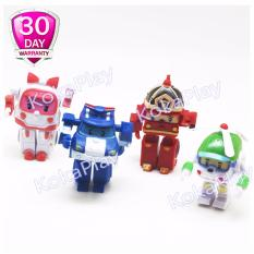 Robocar Poli Set 4 in 1 Figure Mainan Mobil Robot Poli Amber Roy Helly