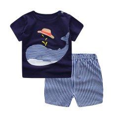 Summer Baby Boy Girl Clothing Sets Short Top + Pants 2pcs/set Cartoon Sport Suit Baby Clothing Set Newborn Infant Clothing - Blue Whale - intl