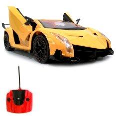 Super Racer RC Mobil Lamborghini Veneno Skala 1/14 Pintu Buka Tutup dengan Remote - Kuning