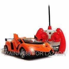 Super Racer RC Mobil Lamborghini Veneno Skala 1/24 Pintu Buka Tutup dengan Remote - Orange(Orange)