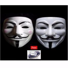 ... Topeng Vendetta Mask Occupy Anonymous Cosplay Putih 1Pcs Free 1pcs Polkadope Ikat Rambut