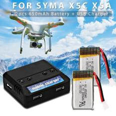 XCSource baterai, batere cadangan 2 PCS 3.7V 650mAh Battery + USB Charger for Syma X5C X5A X5SC X5SW Quadcopter