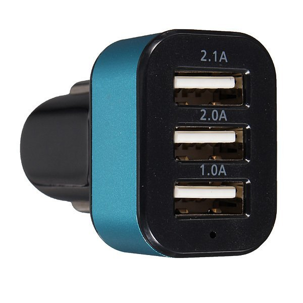 5.1A In Car Charger Multi 3 Port USB Plug For iPhone LG Samsung Nokia Sony Blue (Intl)