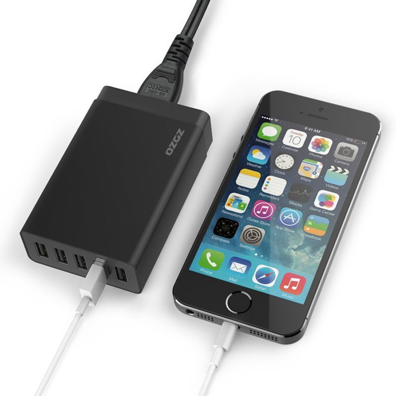 5 Port 40W High Speed USB Smart Desktop Charger Power Adapter for iPhone/iPad Air 2/Samsung Galaxy Black (Intl)