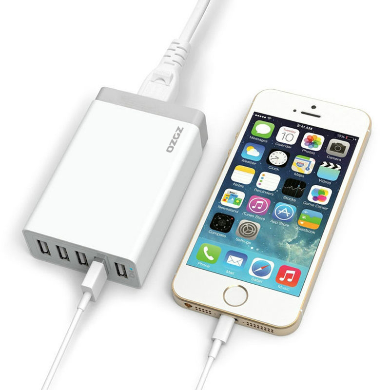 5 Ports 40W USB Charger Smart Power Desktop USB Charger Adapter for iPhone 5S 5 4S iPad Samsung Galaxy HTC Nexus Motorola Cellphone Tablets (Intl)
