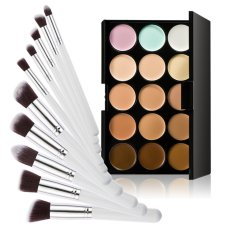 15 Colors Contour Cream Makeup Concealer Palette 10pcs Brush WhiteSilver - intl