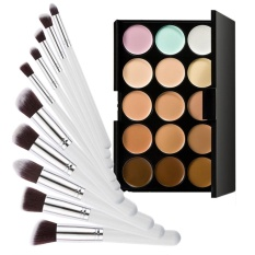 15 Colors Contour Cream Makeup Concealer Palette+10pcs Brush White Silver - intl