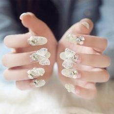24 Pcs/set Crystal Nails Bowknot Wedding Bridal Fake Nail Sticker - intl