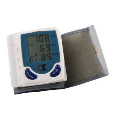 Best CT Digital LCD Wrist Cuff Arm Blood Pressure Monitor Heart Beat Meter Machine - Putih