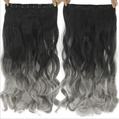... U Shape Metal Clips Source Black Grey Gradient Synthetic Hair Extensions Clip on Hairpieces One Piece
