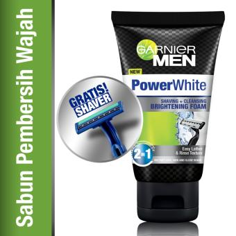 Garnier Men Power White Shaving & Cleansing Brightening Foam - 100 ml + Free Shaver
