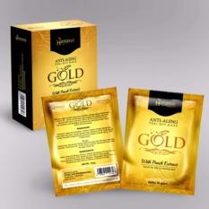 Hanasui Gold Mask Naturgo Peel Off Mask With Extract Peach Anti-Aging BPOM - 1 Box (10 Sachet)