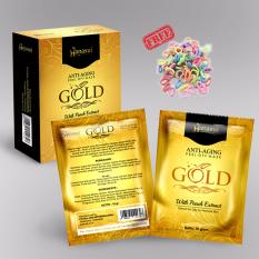 Hanasui Mask Gold Peel Off Mask With Extract Peach Anti-Aging BPOM - 1 Box Isi 10 Sachet + Free Ikat Rambut - 1 Pcs