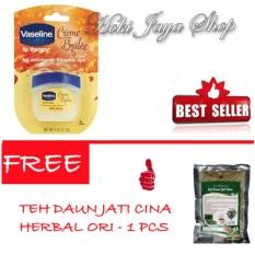 HOKI COD - Vaseline Lip Therapy Creme Brulee Original Premium - 7gr FREE Teh Daun Jati