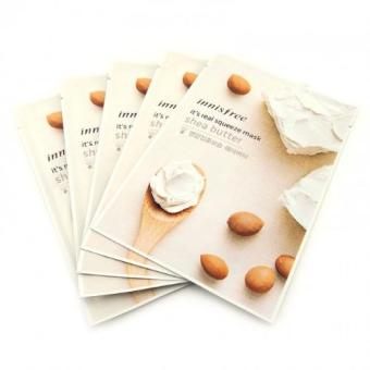 Innisfree It's Real Squeeze Mask Sheet Set of 5 - Shea Butter + Free Innisfree It's Real Squeeze Mask Random Variant