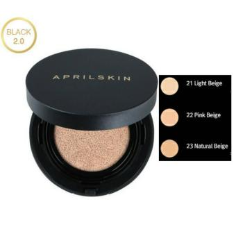 (JAMIN READY - KEMASAN BARU) NO. 21 - LIGHT BEIGE APRIL SKIN MAGIC SNOW CUSHION BLACK