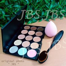 JBS Cosmetic set Powder Brush Oval - Contour Cream Concealer Makeup 15 Colors - Sponge puff
