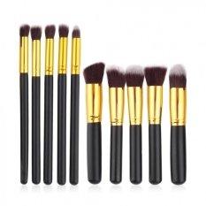 JBS Kuas Makeup Brush Set Cosmetic Blending Pencil Brushes Gold - 10 Pcs