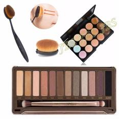 JBS Profesional 12 Warna Eye Shadow Makeup Palette Kit N2 - Mn Menow-Pro 15 Color Contour Cream Series - Kuas Oval Brush - Foundation Brush
