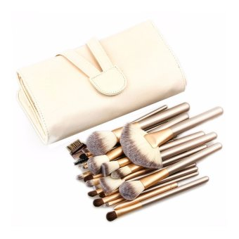 Katies Premium Super Quality 18 Pcs Makeup Brush with Pouch- Beige