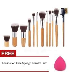 KissU 11Pcs Makeup Eyeshadow Foundation Concealer Brushes Sets +Eyebrow Comb Sponge Blender Puff - intl