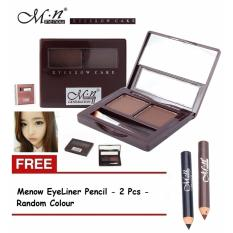 Menow Eyebrow Cake Powder M.N Generation 1Pcs + Free 2 Eyeliner Pencil - Random Colour