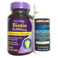 Natrol Paket Biotin 10000mc + Kirkland Minoxidil 60ml