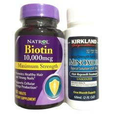 Natrol Paket Biotin 10000mcg + Kirkland Minoxidil 60ml