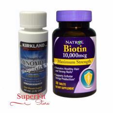 Paket kirkland Minoxidil 60 ml & Natrol Biotin 10000 mcg 100 Tablet - Penumbuh Rambut Pria