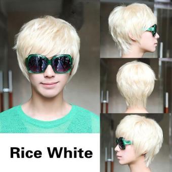 ... 360dsc Suhu Tinggi Sutra Kepang Konde Rambut Source · Pria berambut pirang dan mengenakan Wig pendek nasi putih lurus rambut palsu Internasional