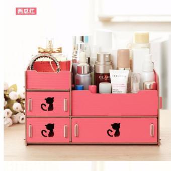 ... Makeup Cotton Swabs Organizer Storage Box Source · Rak Kayu kosmetik 40 Cosmetic Storage Organizer DIY ada TempatTissue dan Cermin PINK FANTA