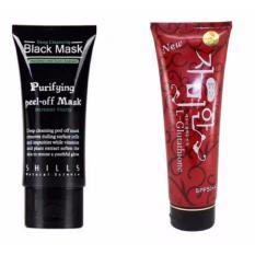 Shills Black Mask Original 100% Deep Cleansing Acne Purifying Peel-off / Masker Wajah dan Komedo - 1 Buah + Red Pome Whitening Lotion - Pemutih Kulit - 300 Gr - 1 Buah