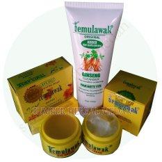 Temulawak Original Hologram Paket Sabun & Cream Siang Malam Plus Ginseng Facial Whitening Freckle Cleanser