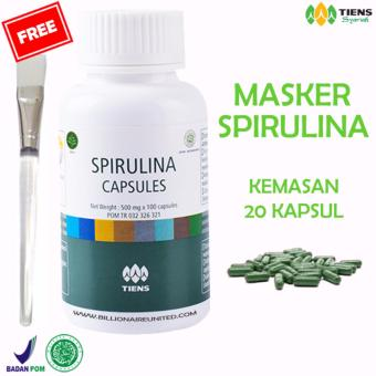 Tiens Masker Spirulina Herbal - Paket 20 Kapsul (New) GRATIS KUAS Original Tiens Herbal Store